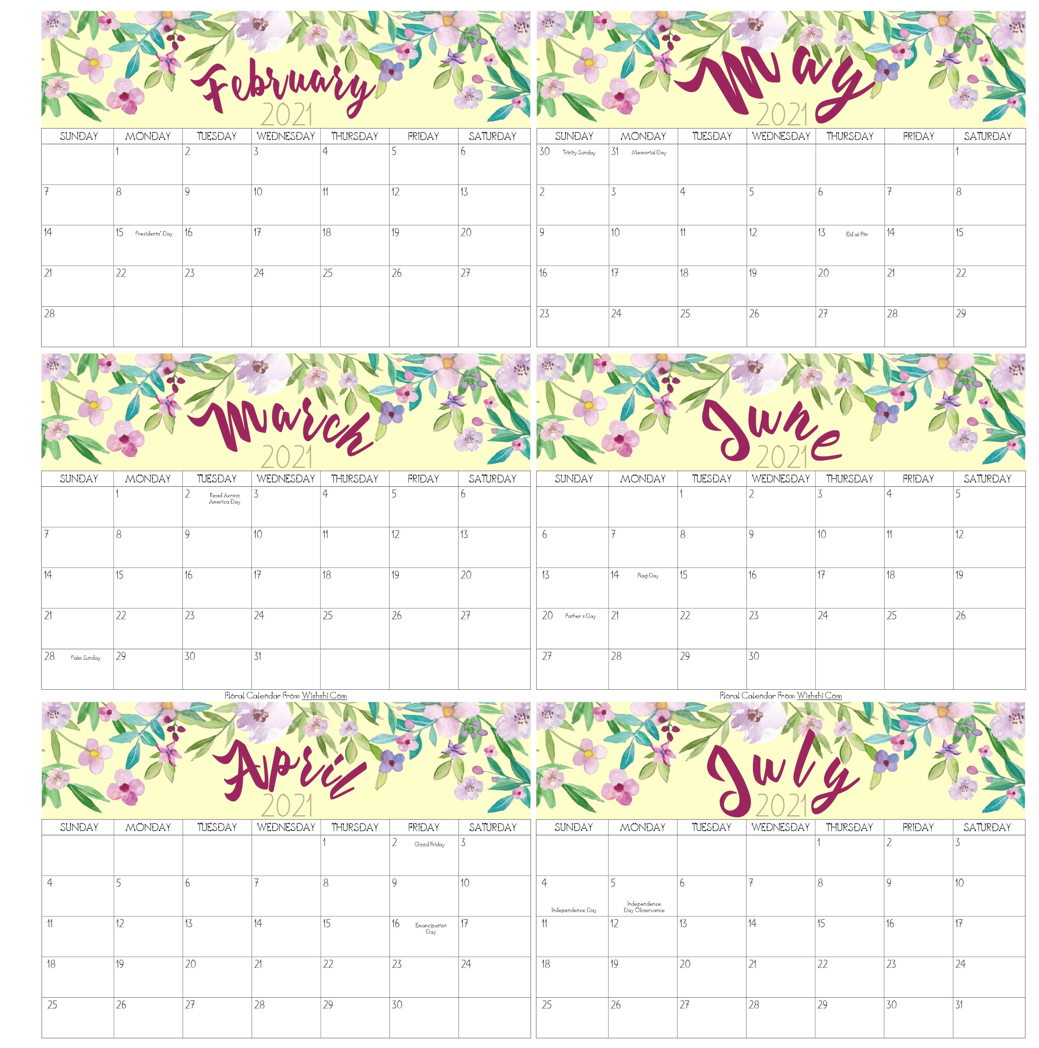 February To July Calendar 2021 With Holidays
