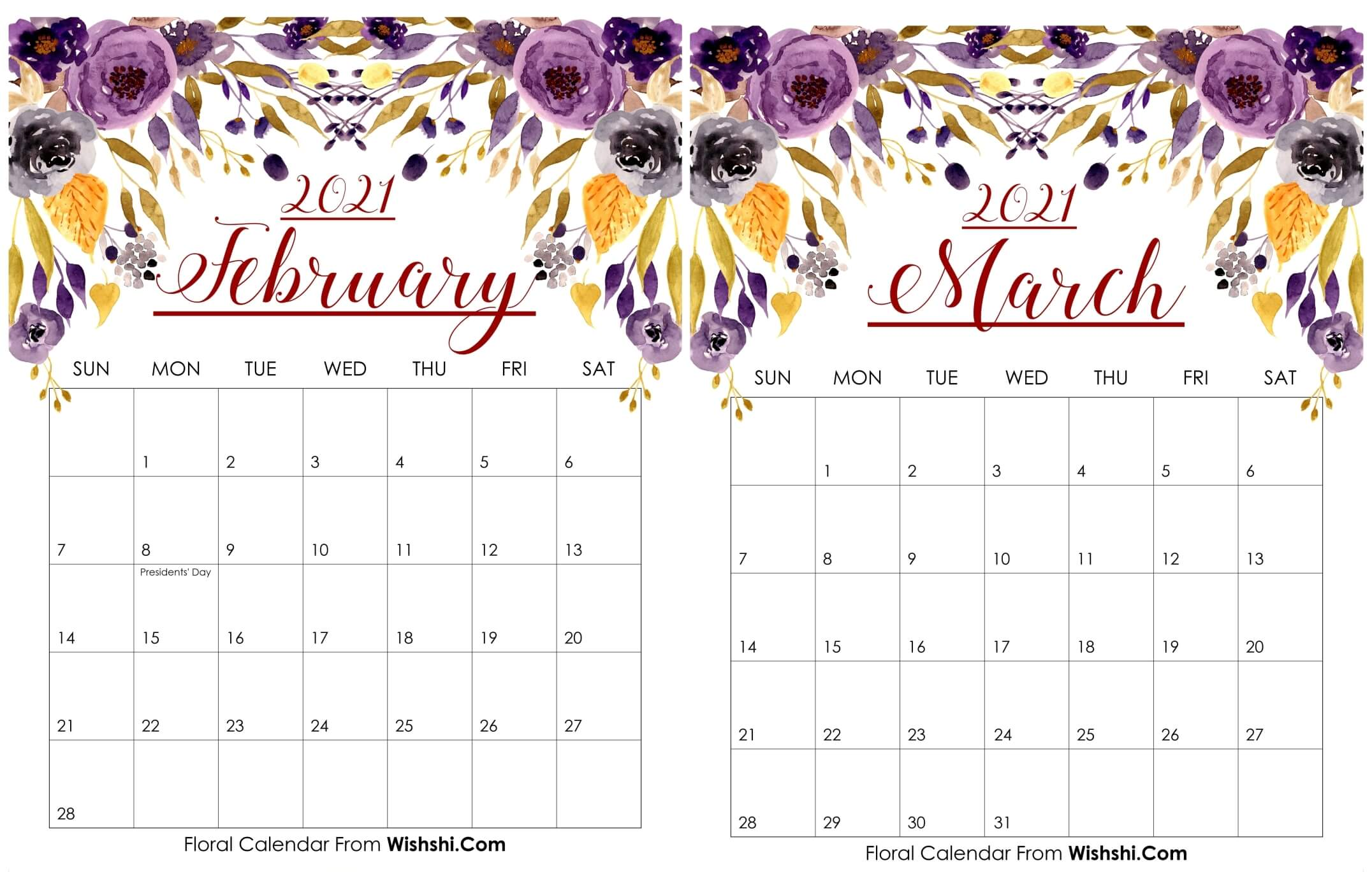 Floral February March 2021 Calendar