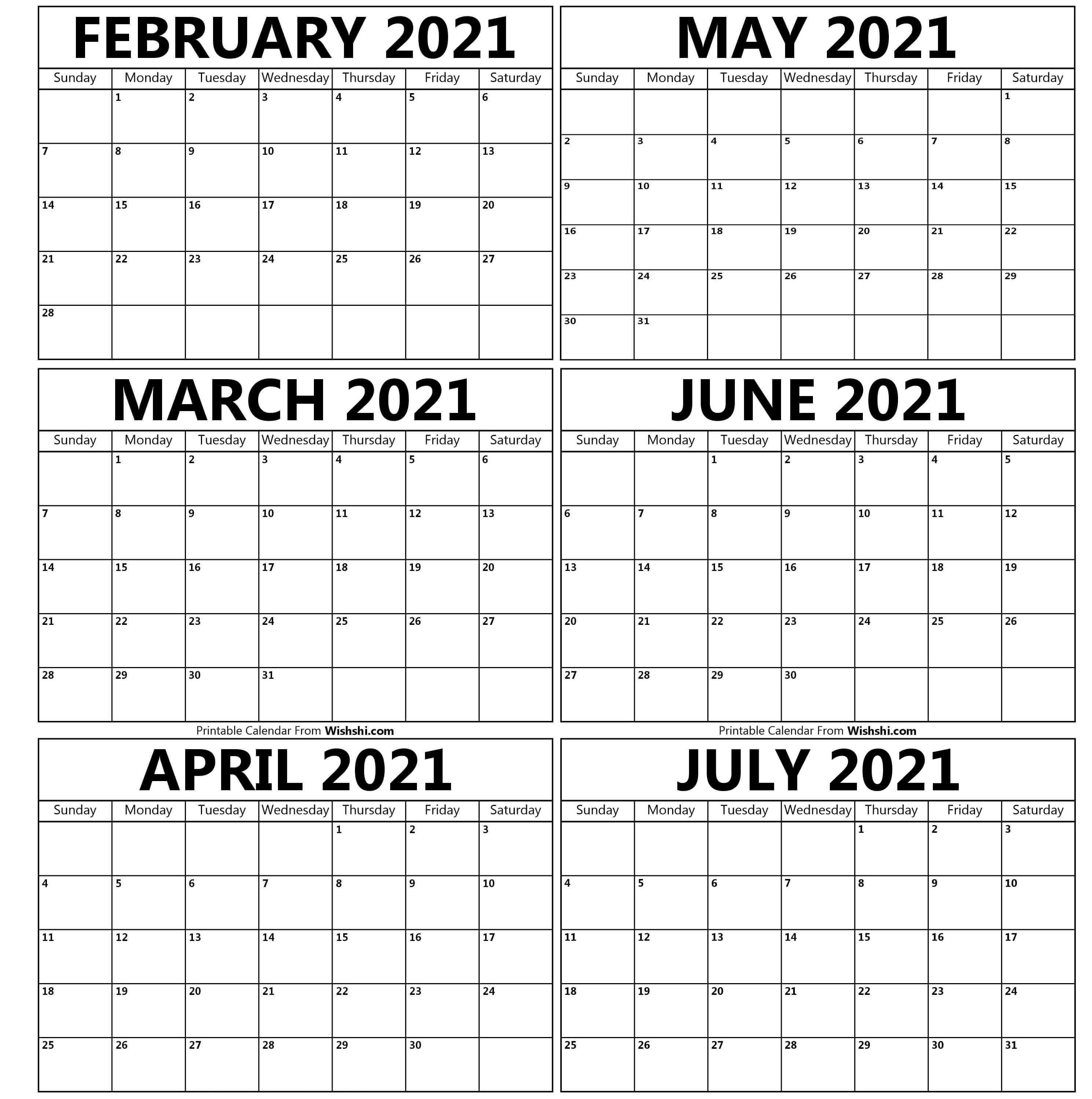 Printable February To July 2021 Calendar