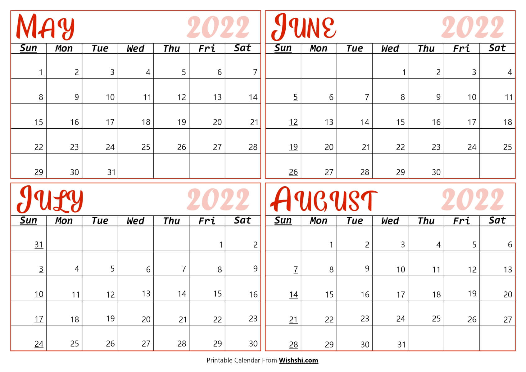 Calendar May to August 2022