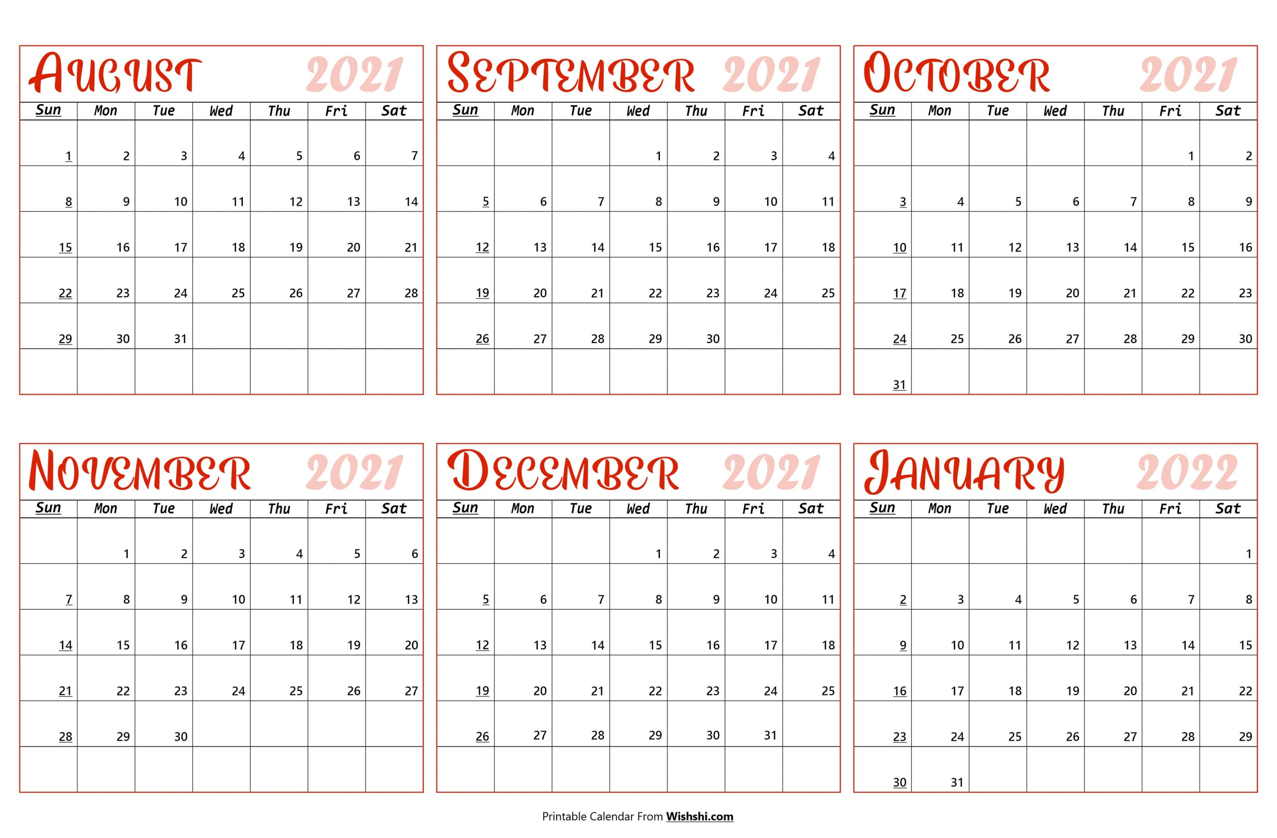 2021 August to January 2022 Calendar scaled