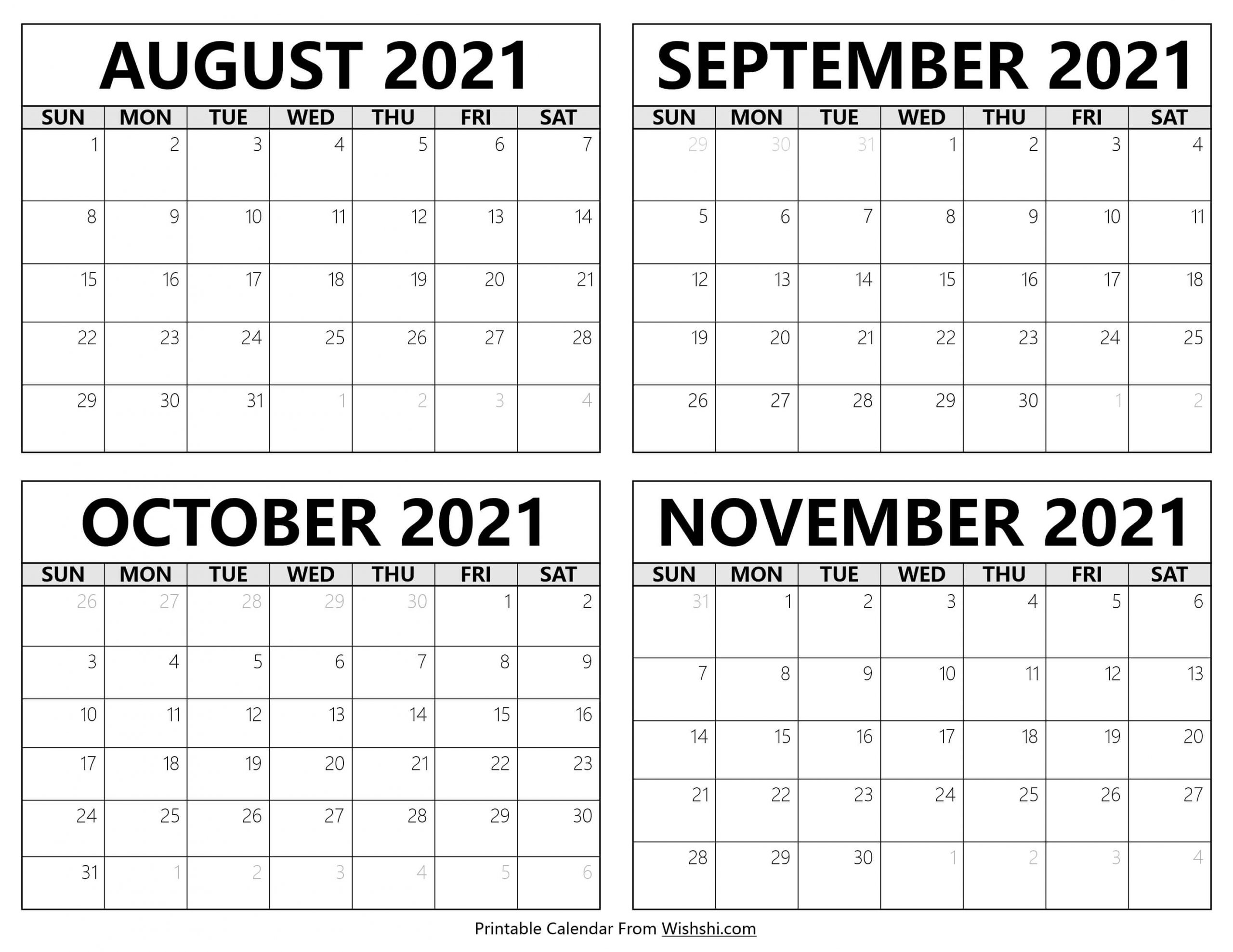 August to November 2021 Calendar scaled
