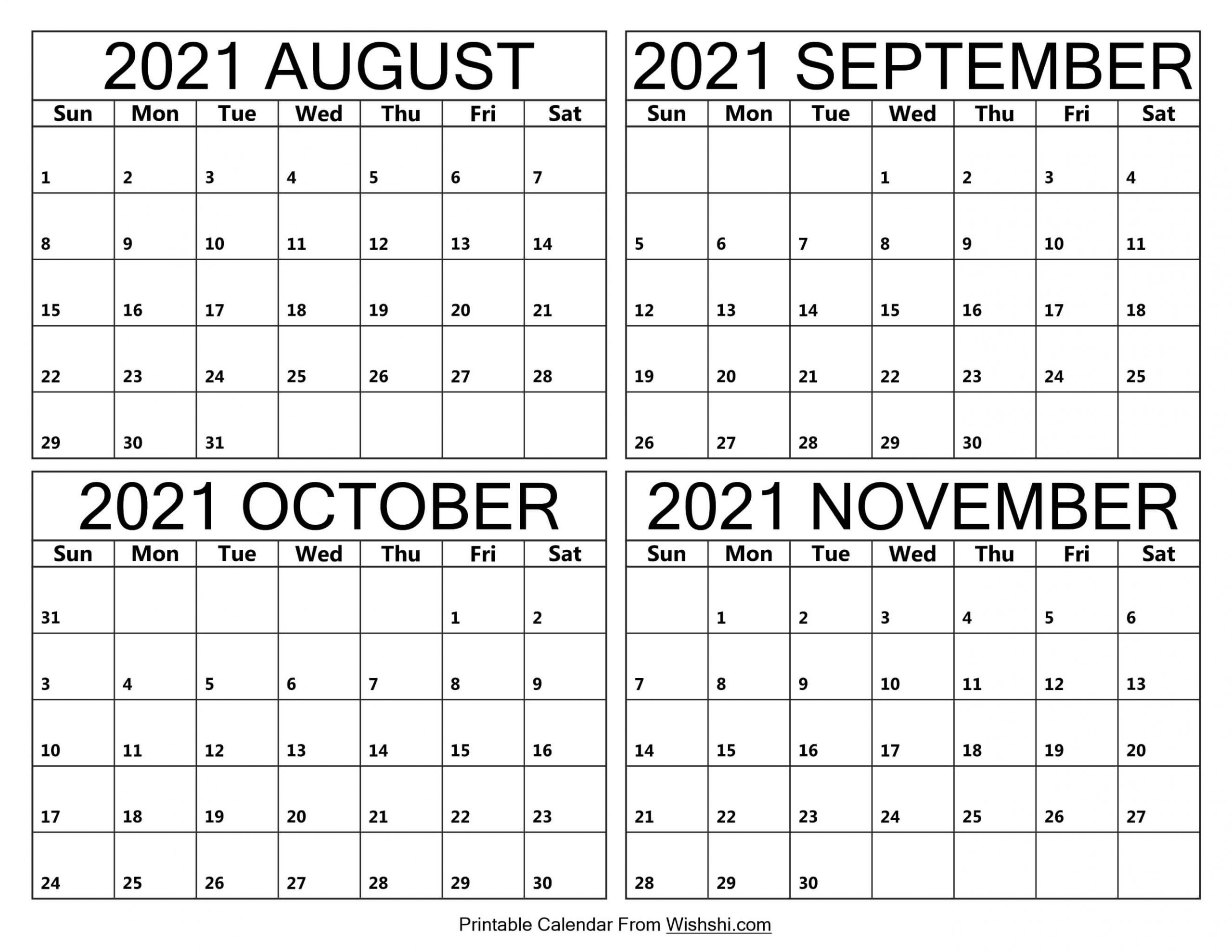 August to November Calendar 2021 scaled