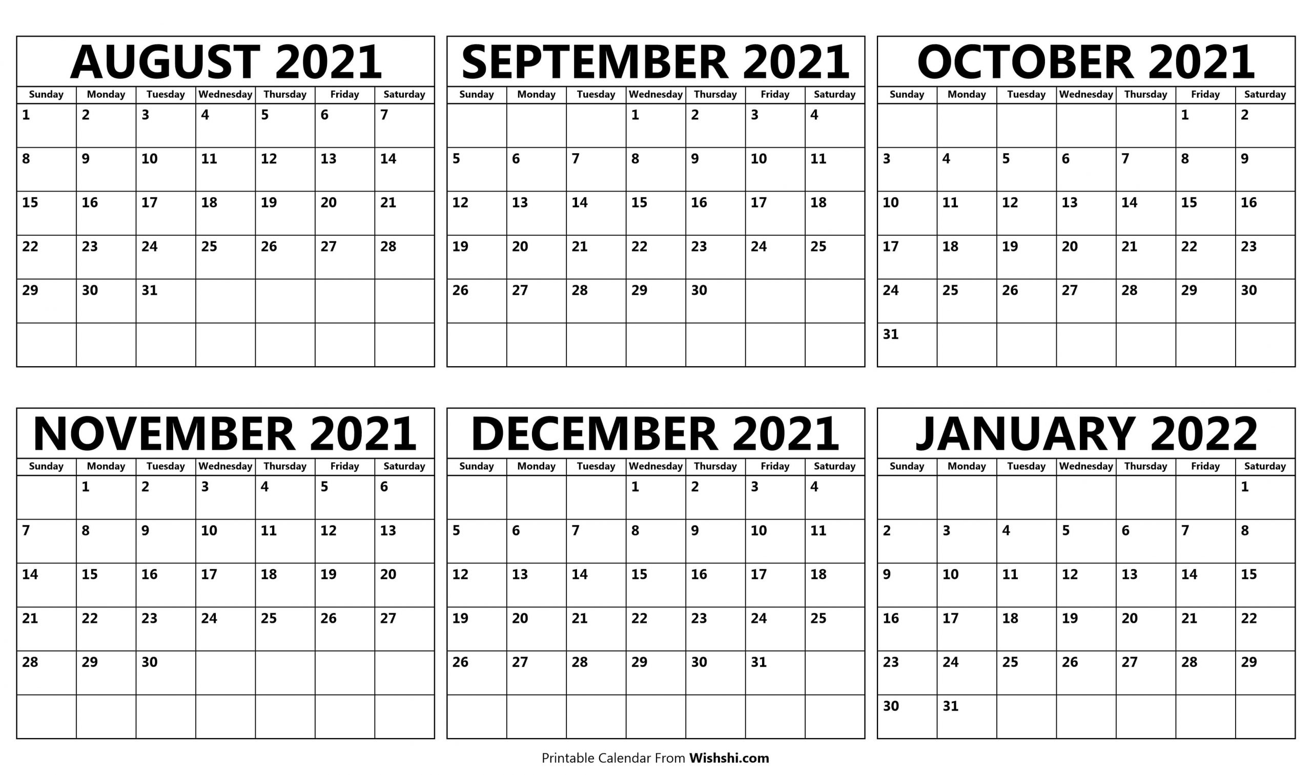 Calendar August 2021 to January 2022 scaled