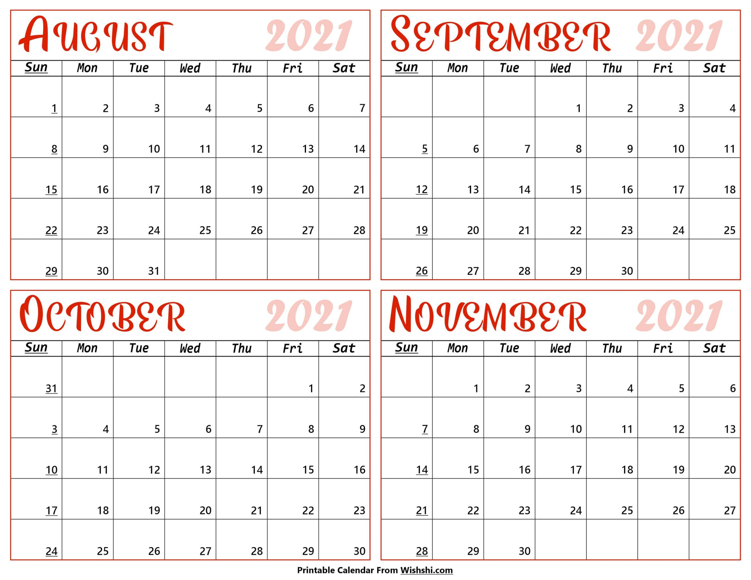 Calendar August to November 2021 scaled